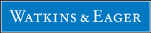 Watkins & Eager Law Firm Logo